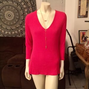 INC International Concepts Red Ribbed V-Neck Tunic